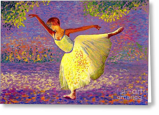 Ballet Dancers Paintings Greeting Cards - Dancing for Joy Greeting Card by Jane Small