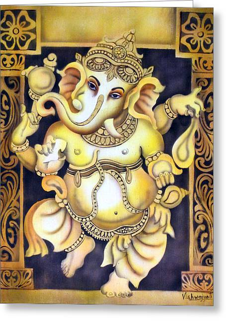 Vishwajyoti Mohrhoff Greeting Cards - Dancing Ganesh Greeting Card by Vishwajyoti Mohrhoff