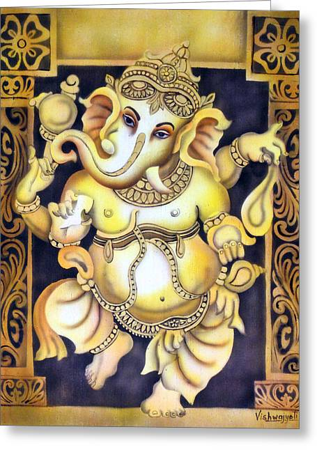 Dancing Ganesh Greeting Card by Vishwajyoti Mohrhoff