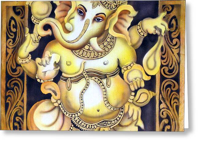 Dancing Ganesh Greeting Card by Vishwajyoti Mohrhoff