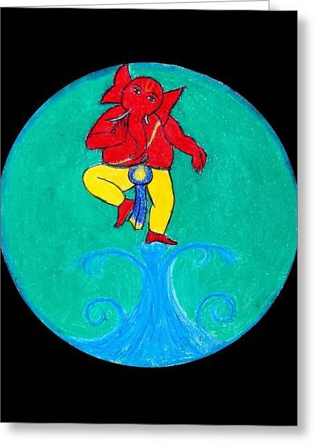 Vinayaka Greeting Cards - Dancing Ganesha 1 Greeting Card by Pratyasha Nithin