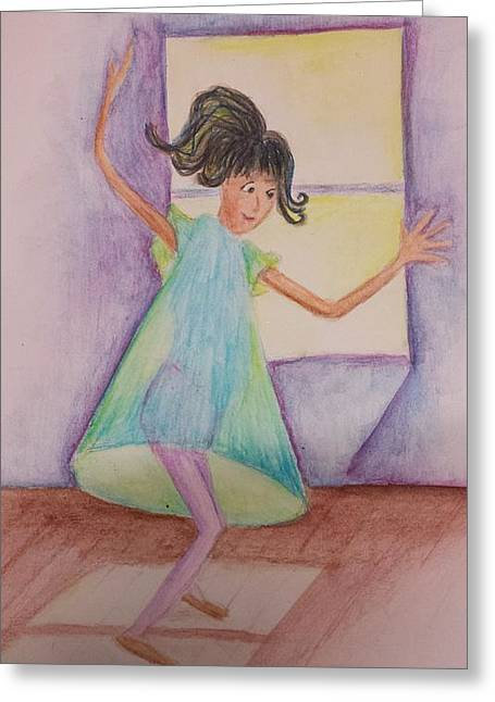 Cherie Sexsmith Greeting Cards - Dancing Girl Greeting Card by Cherie Sexsmith