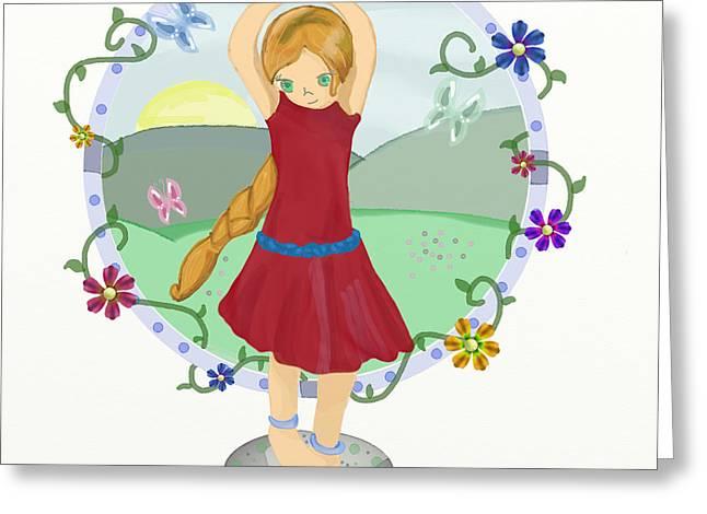 Girl Digital Art Greeting Cards - Dancing Girl Greeting Card by Mellisa Ward