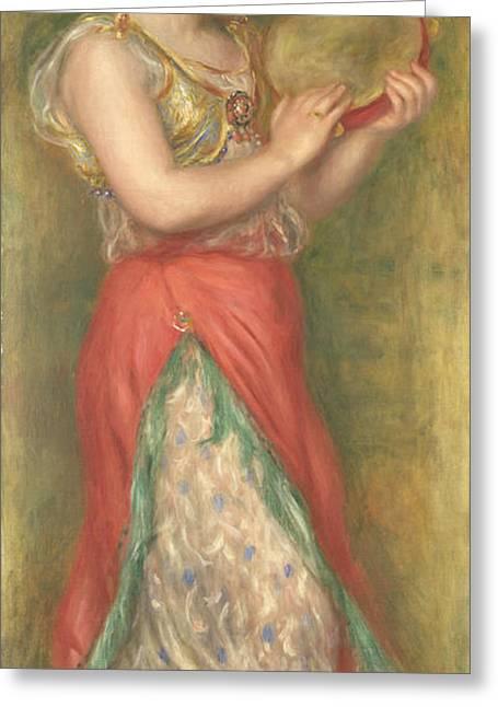 Dancing Girl Greeting Cards - Dancing Girl with Tambourine Greeting Card by Pierre-Auguste Renoir
