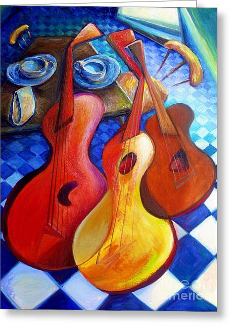 Frederick Luff Greeting Cards - Dancing Guitars Greeting Card by Frederick  Luff