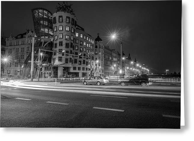 Streetlight Greeting Cards - Dancing House  B-W Greeting Card by Sergey Simanovsky