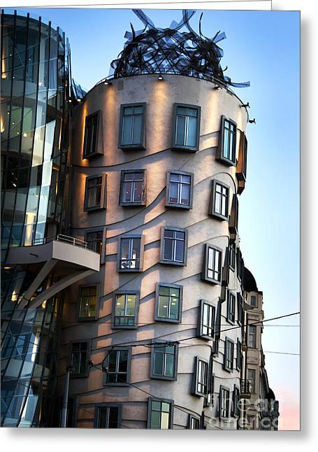 Skies Pyrography Greeting Cards - Dancing House in Prague Greeting Card by Jelena Jovanovic