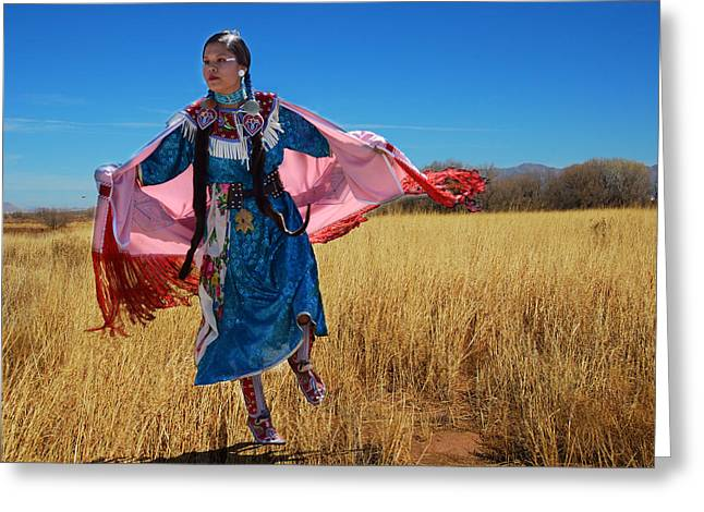 Dancing Girl Greeting Cards - Dancing in a Field Greeting Card by Barbara Manis