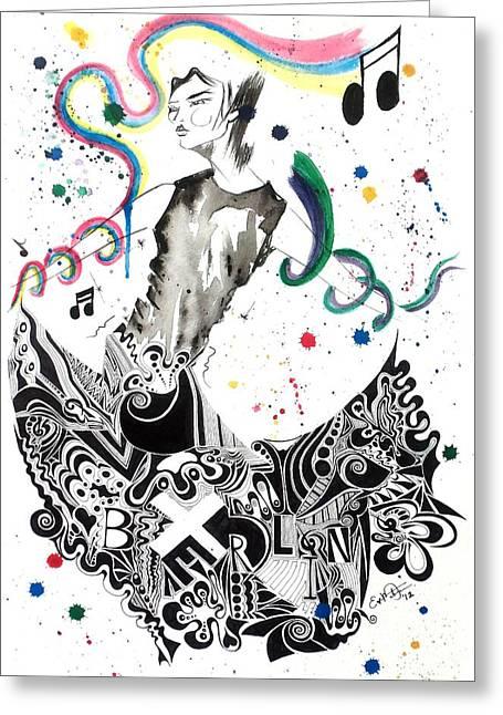 Dancing In Berlin Greeting Card by Oddball Art Co by Lizzy Love