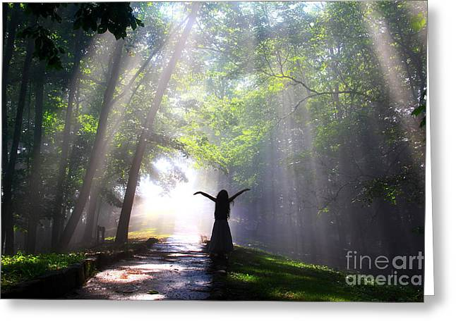 Green Grass Blue Sky Greeting Cards - Dancing In Gods Light CopyRight WillaDawn Photography Greeting Card by Melissa Petrey