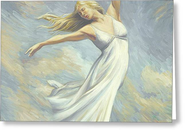 Dancing in Monet's Field Greeting Card by Lucie Bilodeau