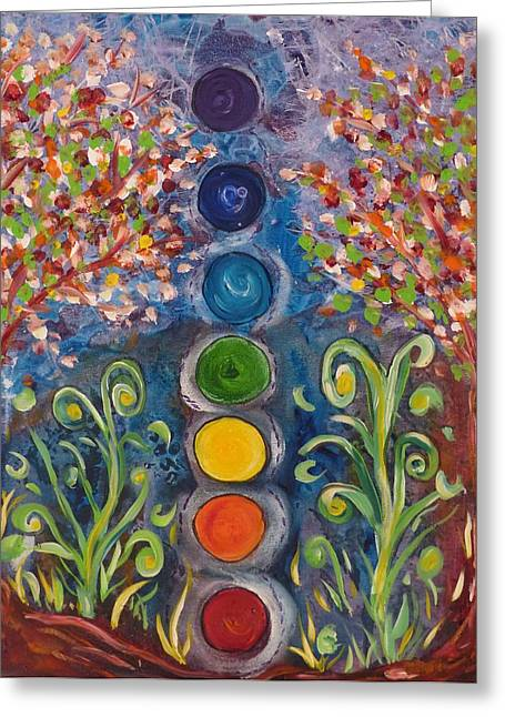 Chakra Rainbow Greeting Cards - Dancing in the garden of Chakras Greeting Card by Kerralee Nelson