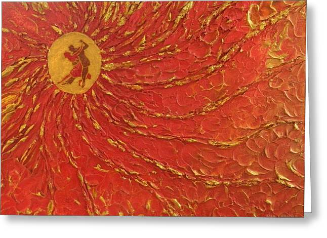 Contemporary Art Reliefs Greeting Cards - Dancing in the Glow Greeting Card by Liza Wheeler