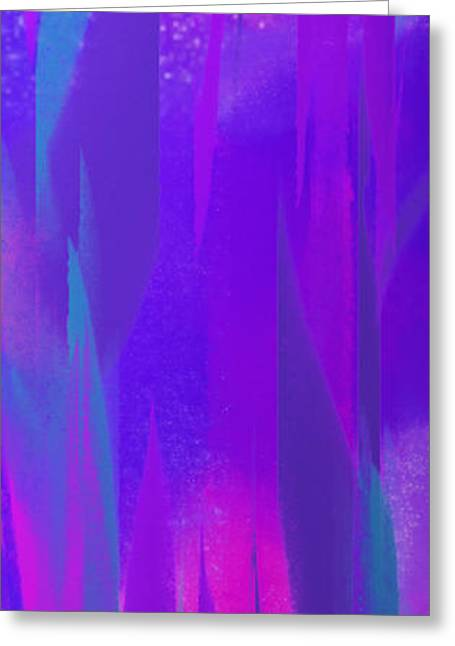 Purple Abstract Greeting Cards - Dancing In The Night Panorama Greeting Card by Andee Design