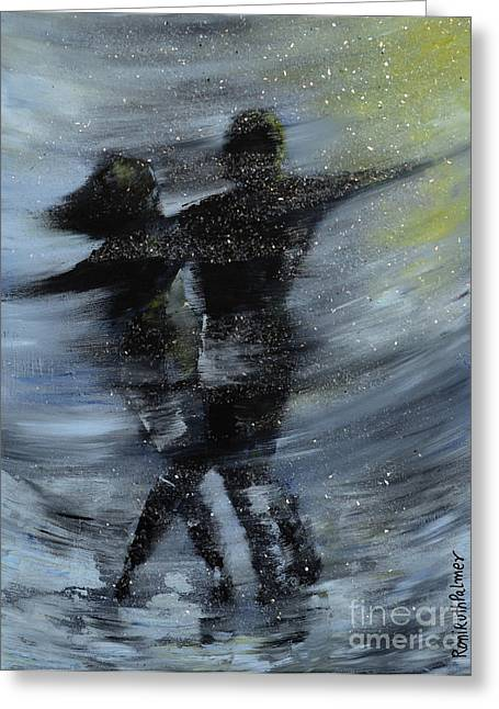 Dancing In The Night Greeting Card by Roni Ruth Palmer
