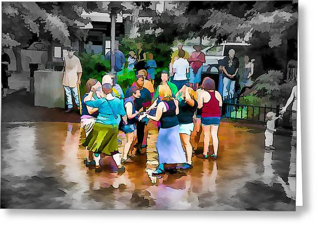 Small Towns Mixed Media Greeting Cards - Dancing in the Rain Greeting Card by John Haldane
