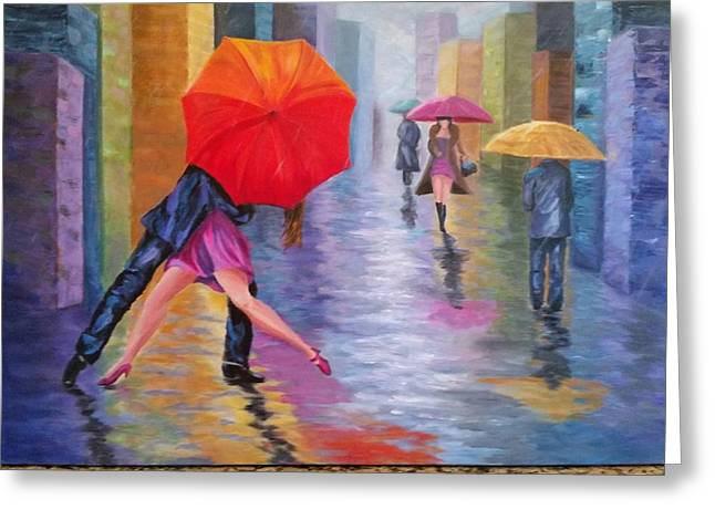 Abstract Rain Greeting Cards - Dancing in the Rain Greeting Card by Rosie Sherman