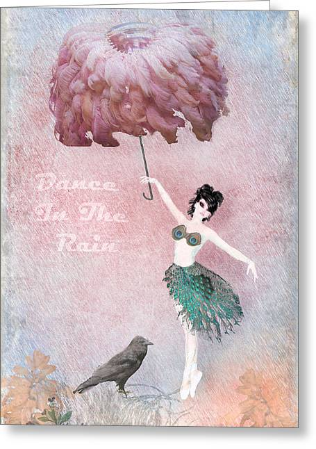 Youthful Digital Greeting Cards - Dancing in the Rain Greeting Card by Terry Fleckney