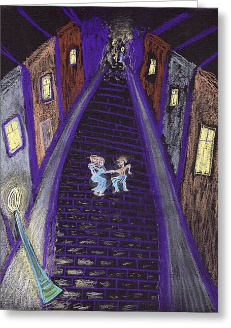 Night Lamp Drawings Greeting Cards - Dancing in the Street Greeting Card by Jim Taylor