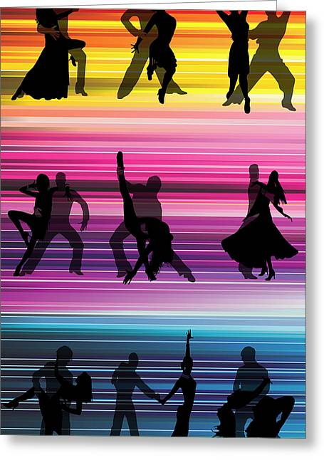 Pairs Mixed Media Greeting Cards - Dancing In The Streets Greeting Card by Angelina Vick