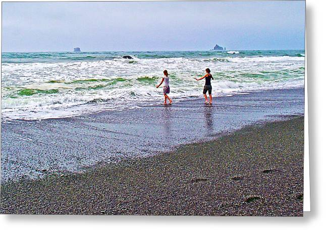 Dancing On The Beach Greeting Cards - Dancing into the Waves on  Rialto Beach in Olympic National Park-Washingtion Greeting Card by Ruth Hager