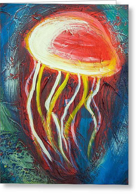 Kenal Louis Paintings Greeting Cards - Dancing Jellyfish Greeting Card by Kenal Louis
