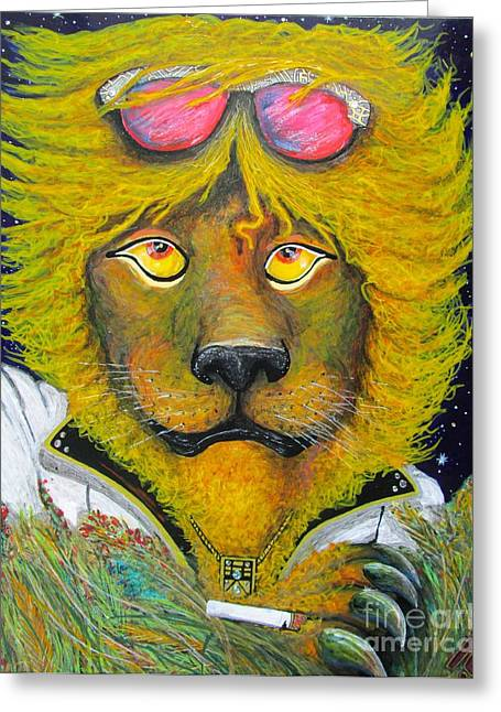 Laying Under Stars Greeting Cards - Dancing King of the Serengeti Discotheque Greeting Card by John Foss