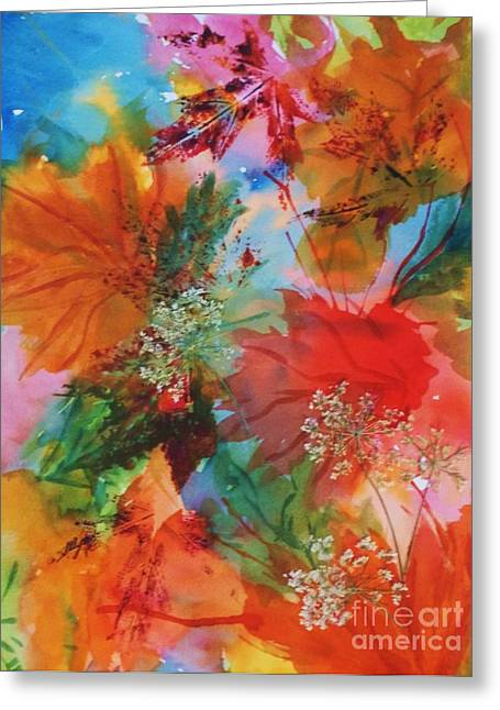 Fall Colors Greeting Cards - Dancing Leaves and Lace Greeting Card by Ellen Levinson