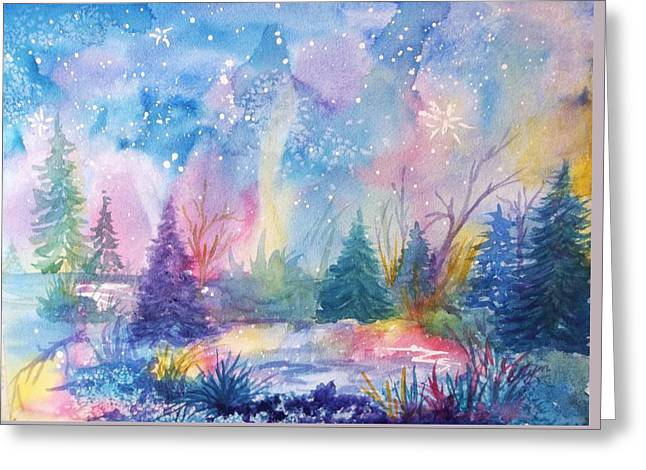 Reflections Of Sky In Water Greeting Cards - Dancing Lights Greeting Card by Ellen Levinson