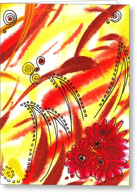 Dancing Lines And Flowers Abstract Greeting Card by Irina Sztukowski