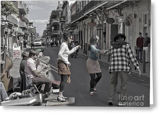 Tap Dancers Greeting Cards - Dancing New Orleans Style Greeting Card by Loriannah Hespe