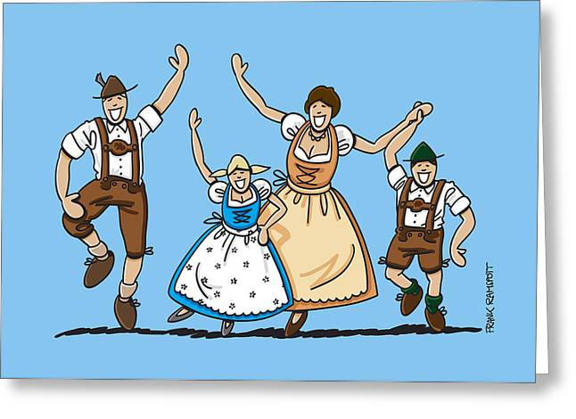 Dancing Oktoberfest Family Greeting Card by Frank Ramspott