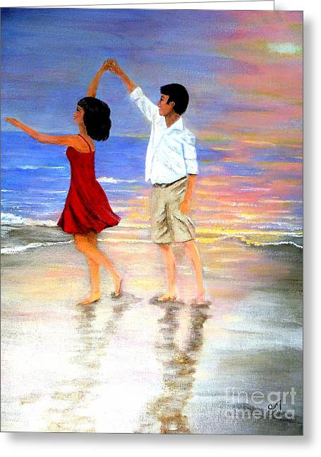 Wife Greeting Cards - Dancing on the Beach Greeting Card by Music of the Heart