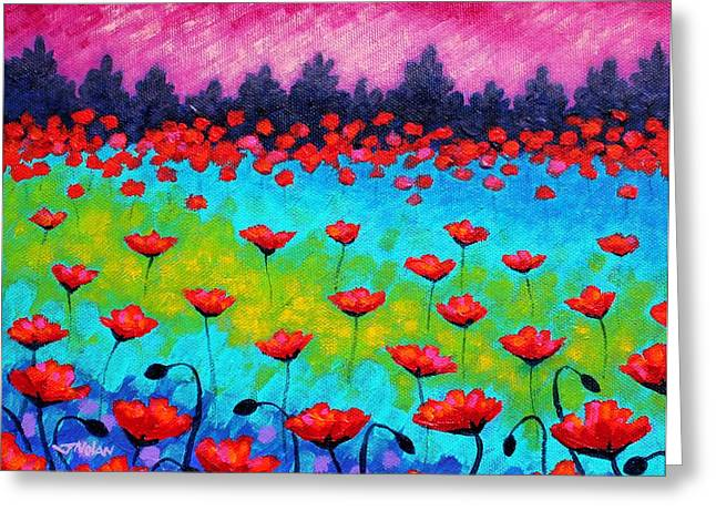 Landscape Posters Greeting Cards - Dancing Poppies Greeting Card by John  Nolan