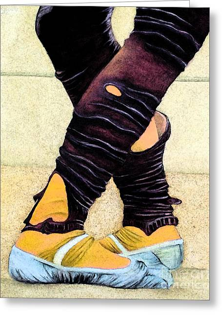 Worn In Paintings Greeting Cards - Dancing Slippers Greeting Card by Rose Davis