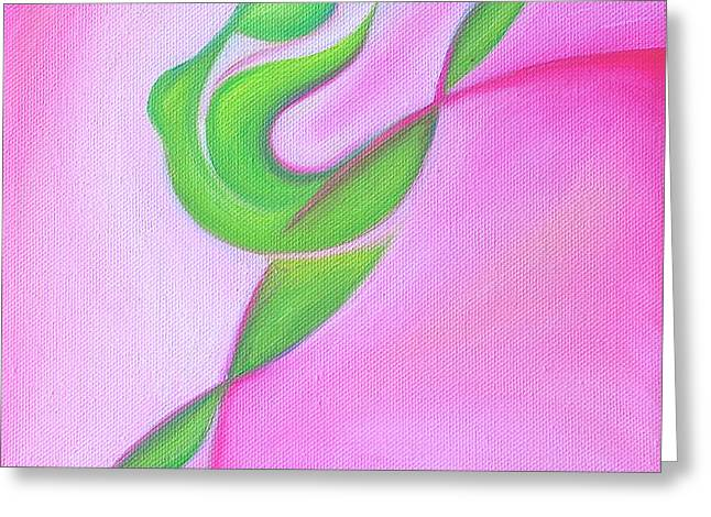 Dancing Sprite in Pink and Green Greeting Card by Tiffany Davis-Rustam