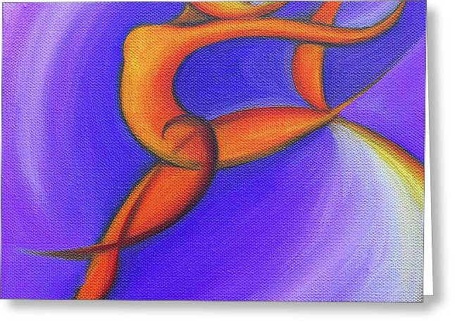 Dancing Sprite in Purple and Orange Greeting Card by Tiffany Davis-Rustam