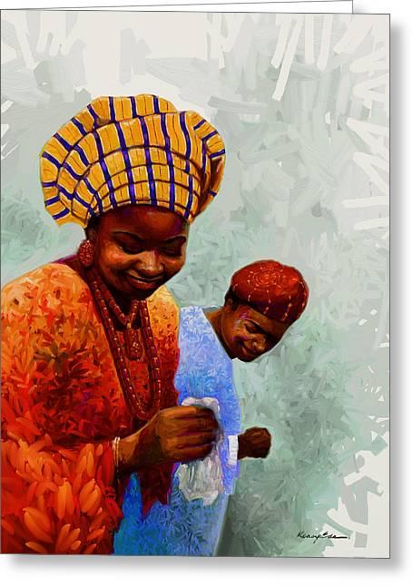 American Women Prints Greeting Cards - Dancing Time - Colorful African Couple Dancing  Greeting Card by Kanayo Ede