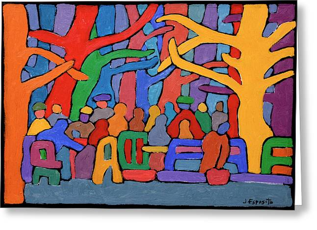 Freedom Park Paintings Greeting Cards - Dancing Trees in the Park Greeting Card by Joe Esposito