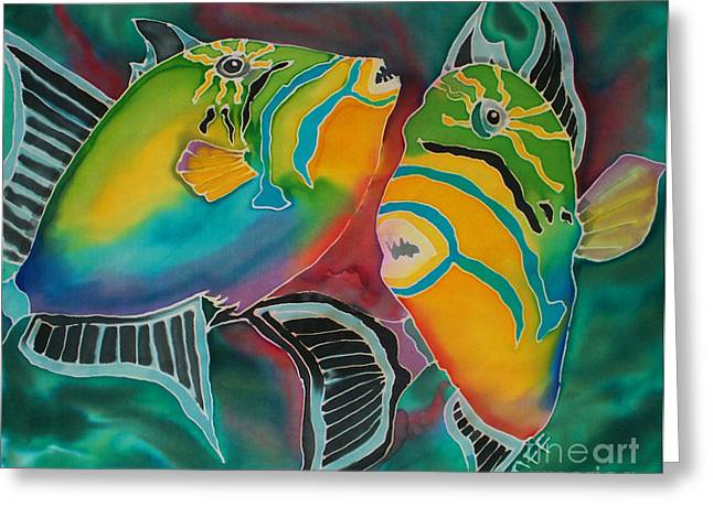 Triggerfish Paintings Greeting Cards - Dancing Triggers Greeting Card by TIFF Barrett