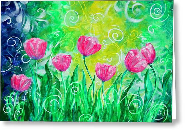Dancing Tulips Greeting Card by Jan Marvin