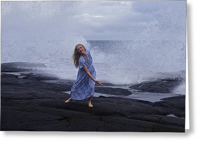 Woman In A Dress Greeting Cards - Dancing Up A Storm Greeting Card by Venetia Featherstone-Witty