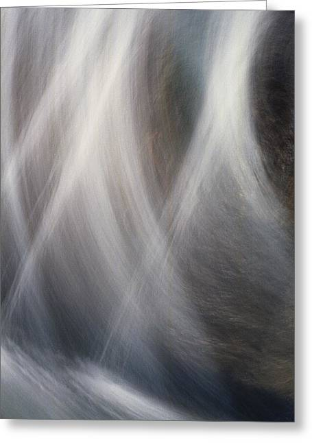 Beige Abstract Greeting Cards - Dancing Water Greeting Card by Kathy Bassett