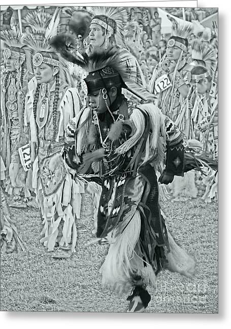 Fancy-dancer Greeting Cards - Dancing with Ancestors silver screen Greeting Card by Scarlett Images Photography