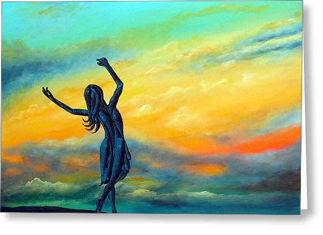 Dancing With Jesus Greeting Card by Deda Happel