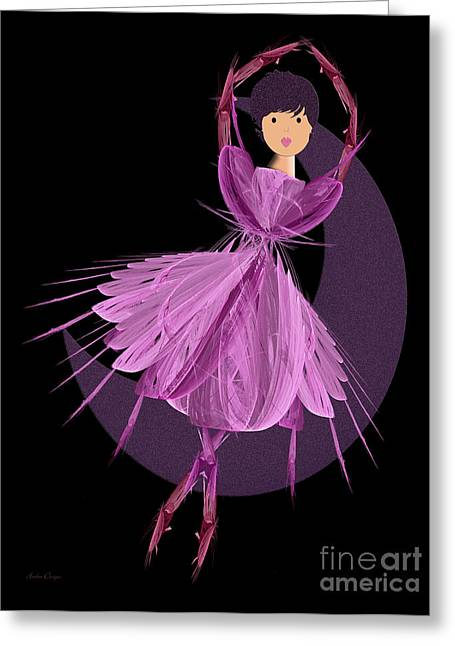 Tutu Mixed Media Greeting Cards - Dancing With The Moon A Greeting Card by Andee Design