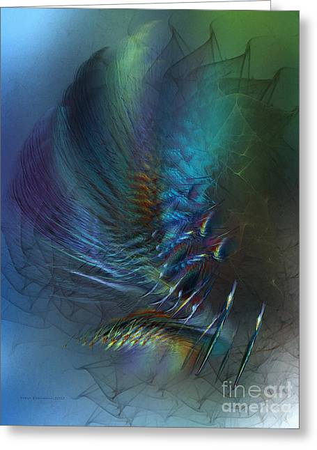 Sensitive Greeting Cards - Dancing With the Wind-Abstract Art Greeting Card by Karin Kuhlmann