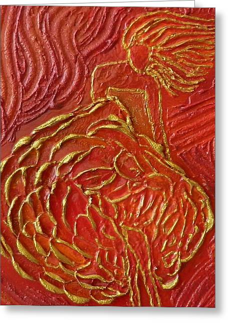 Contemporary Art Reliefs Greeting Cards - Dancing with the Wind Greeting Card by Liza Wheeler
