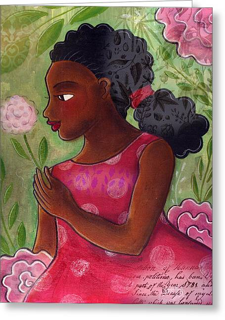 African-american Mixed Media Greeting Cards - Dandelion Greeting Card by Elaine Jackson