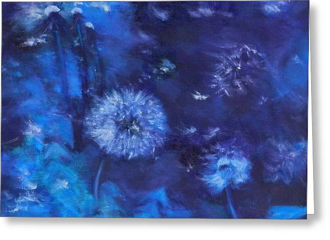 Phthalo Blue Greeting Cards - Dandelion Night Greeting Card by Leisa Shannon Corbett